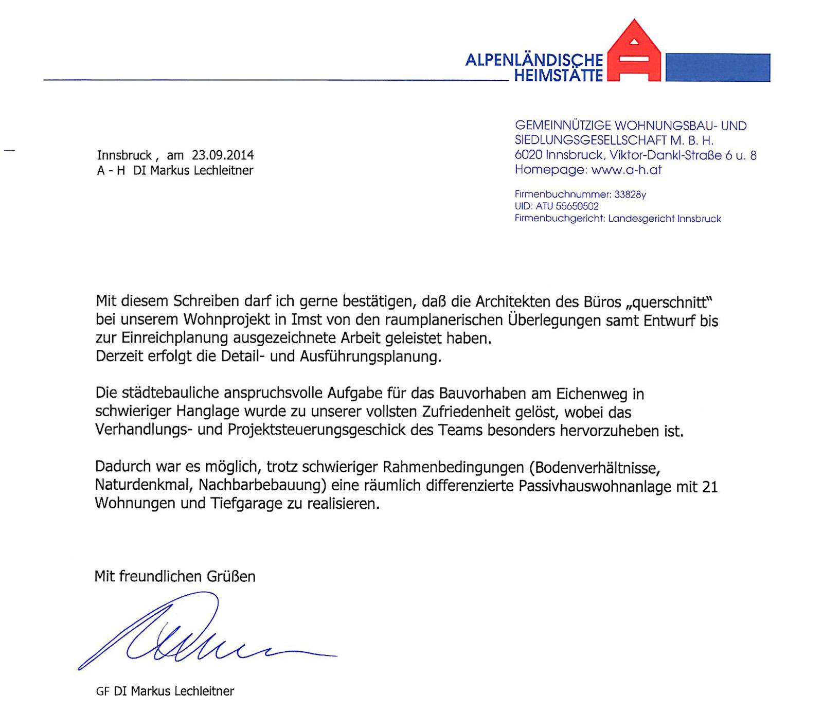 Referenz Alpenländische Heimstätte - GF Markus Lechleitner